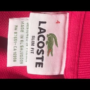Lacoste slim fit size 4